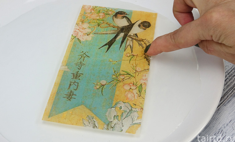 Декупаж рисовой бумагой на дереве мастер класс